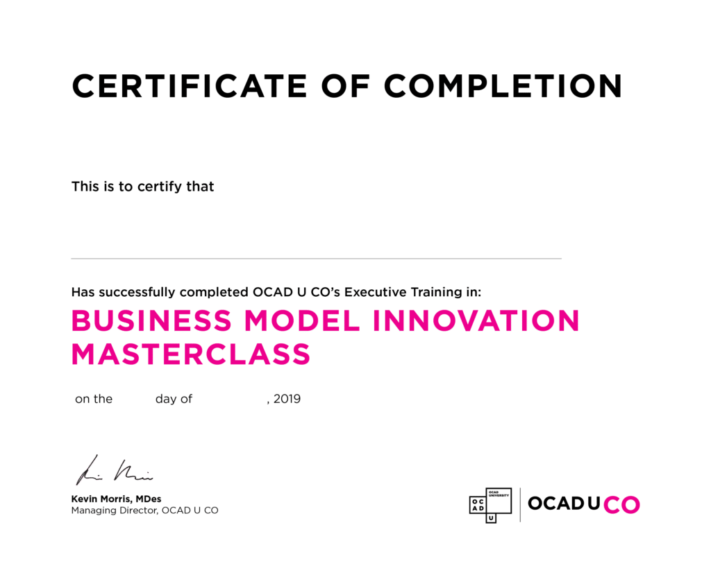 OCAD U CO Executive Education - Certificate – Business Model Innovation with Strategyzer